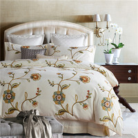 Luxury Egyptian cotton Mandala Bedding Set Flower embroidery duvet covers Cream color Bed bedclothes