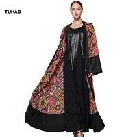 TUHAO 2017 Autumn Winter Musilim Dress Cardigan Female Vintage Maxi Long Flare Sleeve Print Women Plus