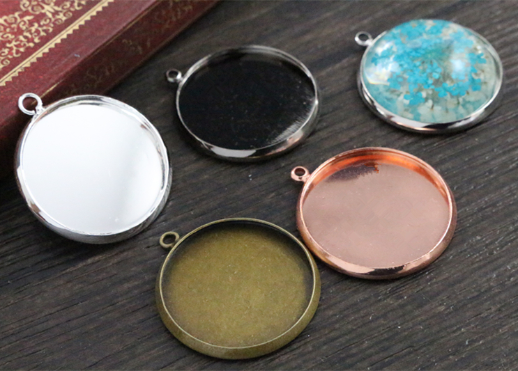New Arrive 5pcs 25mm 5 Colors Plated Cameo Settings Cabochon Base Brass Copper Blank Tray Pendant Charms