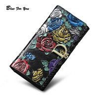 Genuine Leather Purse Wallet Female 3D Embossing Ladies Personality Retro Long Clutch Wallets Women Female Coin