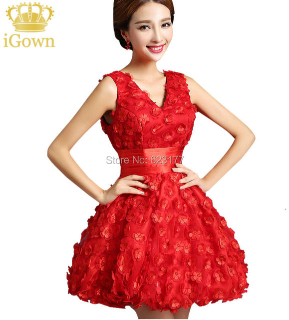 Newest Red Scarlet Bridesmaid Dresses Y V Neck Backless Beautiful Flowers Dress Fashion S