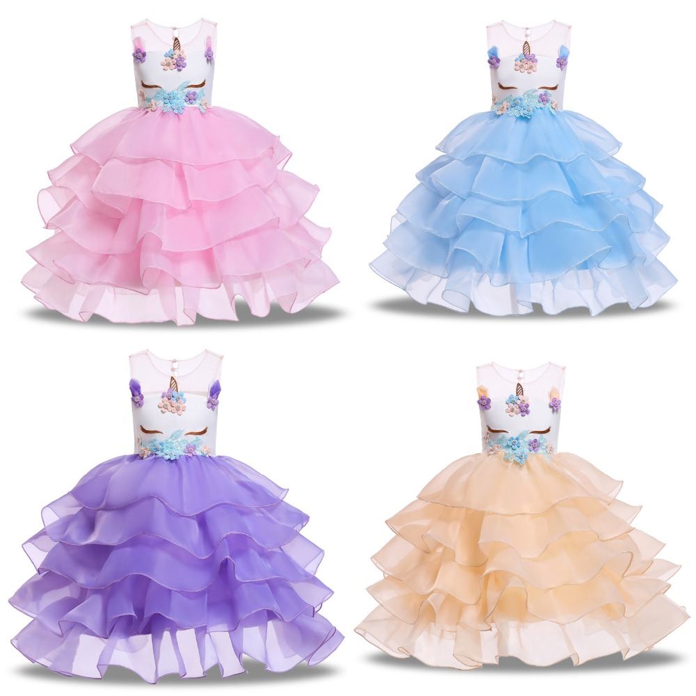 2019 new Ins style girls from Europe and America perform unicorn dress children's and girls' cosplay dress performance dress