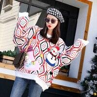 Wielokolorowy sweter damski świąteczny z naszywanym bałwanem 3D 3