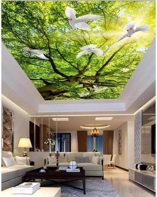 Arbre Salon Chambre Plafond Soleil Paysage Peintures Murales De