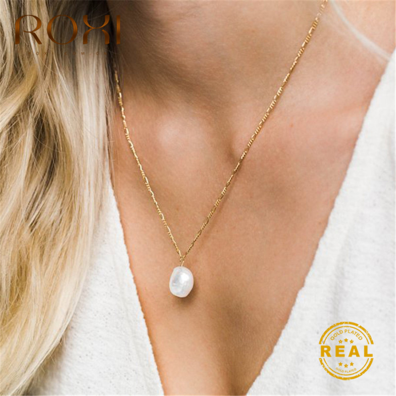 ROXI 100% Natural Freshwater Pearl Necklace for Women Baroque Jewelry Statement 2019 Bohemian Pendant