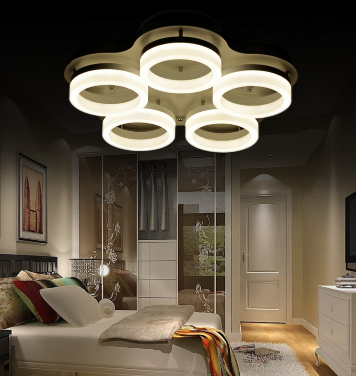 Smart 40w Led Lamp Ceiling Lights Modern Fashionable Design Living Room Lamp White Shade Acrylic Surface Mounted Lighting Fixture