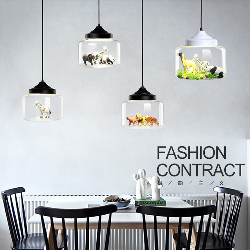 Modern Glass Pendant Light Restaurant Bar Cafe Creative Animal Models Decorative Suspension Lamp Dining Room Child Lighting