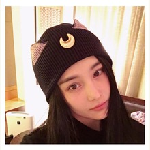 Anime Sailor Moon Black Luna Knitted Cat Hats with Ears Cosplay Cartoon Beanies for Women Costume