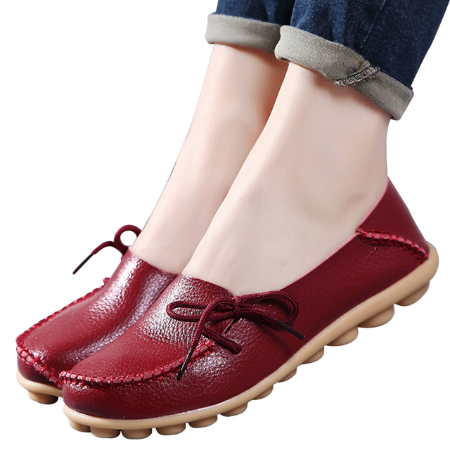 Large size genuine leather Women shoes mother shoes girls lace-up fashion casual shoes comfortable breathable women flats