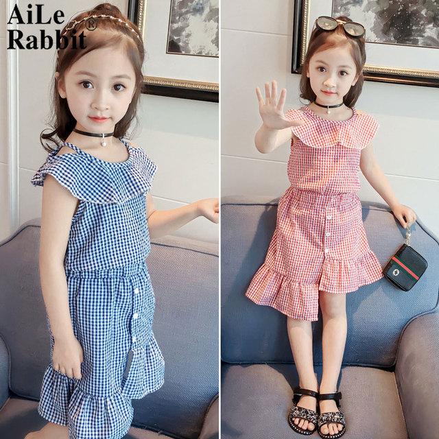 71b53b38b AiLe Rabbit Baby girls western style suit-dress summer wear the new 2018  summer two-piece XT399 han edition children