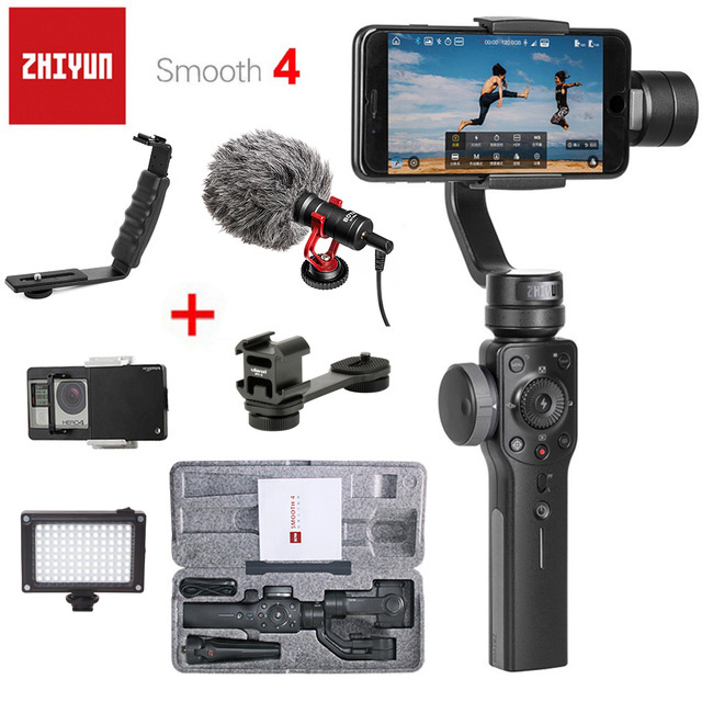 цена Zhi Yun Zhiyun Smooth 4 Smooth Q Gimbal 3-Axis Brushless Handheld phone Stabilizer for iPhone X 8 Xiaomi /Gopro 5 4/SJCAM YI