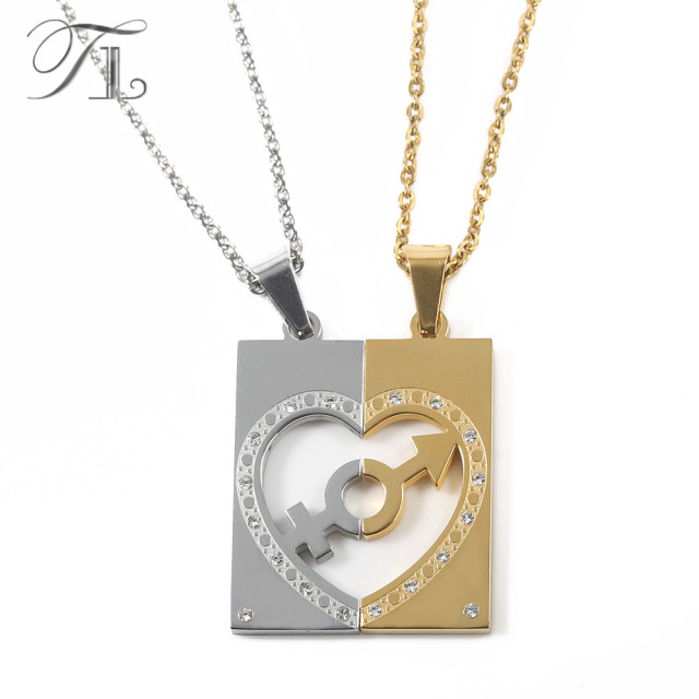 engraved piece best half gold friends heart necklace two pendant