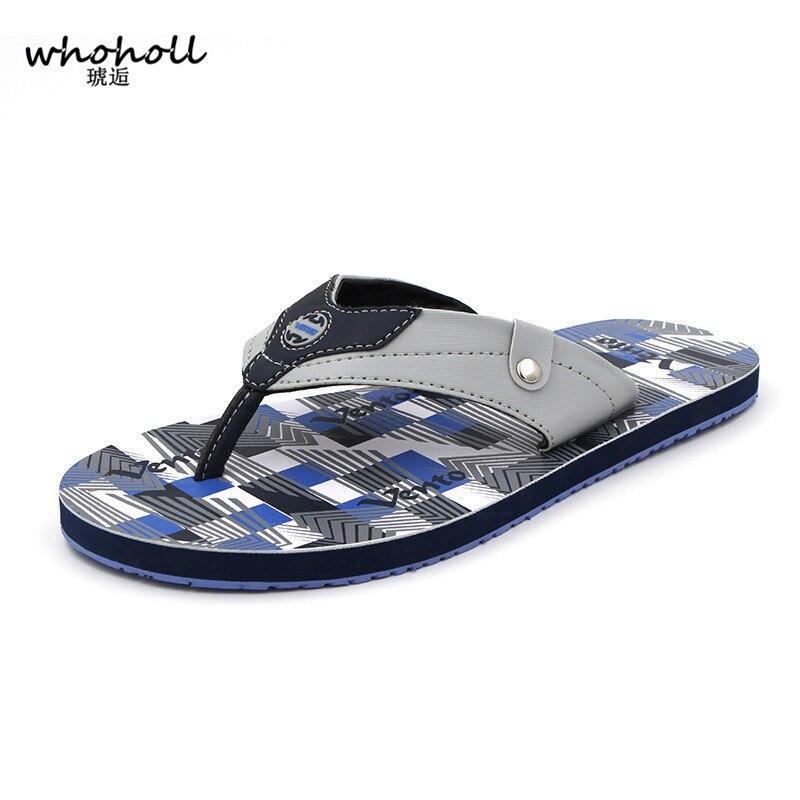WHOHOLL 2019 Summer Men Slippers Non-slip Beach Outdoor Flat Casual Flip Flops High Quality PU Plaid Sandals