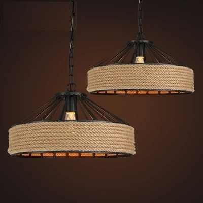 Американский Лофт Стиль подвесной светильник, украшенный пеньковой веревкой светодиодный подвесной светильник для Обеденная подвесной светильник Винтаж промышленное освещение