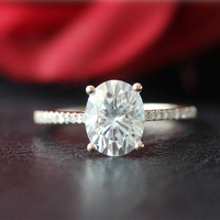 Moissanite Engagement Ring 5x7mm 1.00CT Carat Oval Cut Solid 10K Rose Gold Ring with Accents For Women