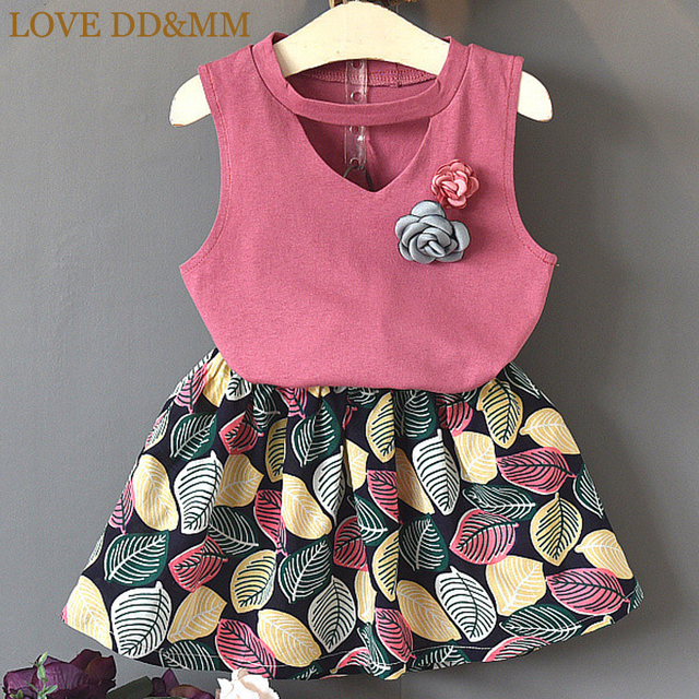 9988e7d7d LOVE DD&MM Girls Sets 2019 Summer New Children's Wear Girls' Pure Color  Corsage T-Shirts + Cotton Short Skirts Sets