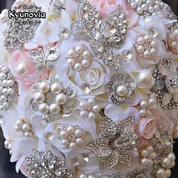 Kyunovia Vintage Blush Cascading Bouquet Teardrop Butterfly Brooch Bouquet Pearl Alternative Bouquet Crystal Wedding Flower FE68