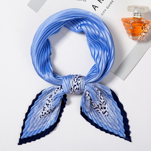 Women Stain Crinkle Scarf Lady Silk Square Neck Scarfs Leopard Print Fold Pleated Scarves Female Headband