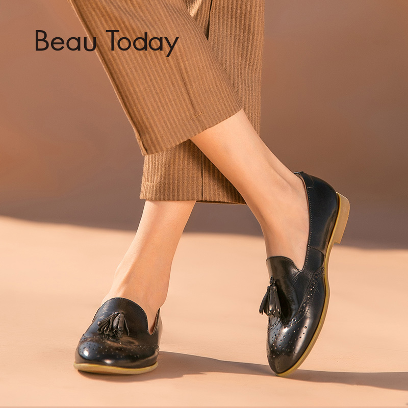 BeauToday Loafers Women Brogue Style Fringes Genuine Leather Round Toe Slip-On Top Quality Calfskin Tassel Lady Flat Shoes 27213