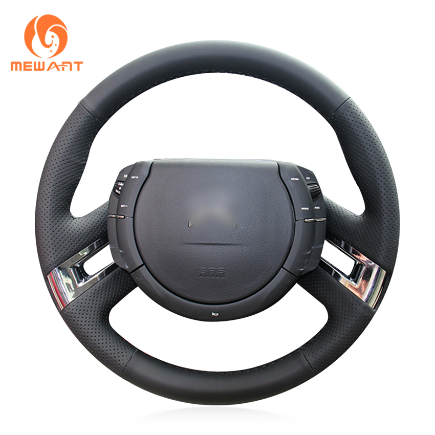 MEWANT Comfortable Soft Durable Hand Sew Black Genuine Leather Car Steering Wheel Cover For Citroen C4 Picasso 2007-2013