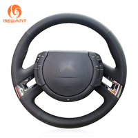 MEWANT Comfortable Soft Durable Hand Sew Black Genuine Leather Car Steering Wheel Cover for Citroen C4 Picasso 2007 2013