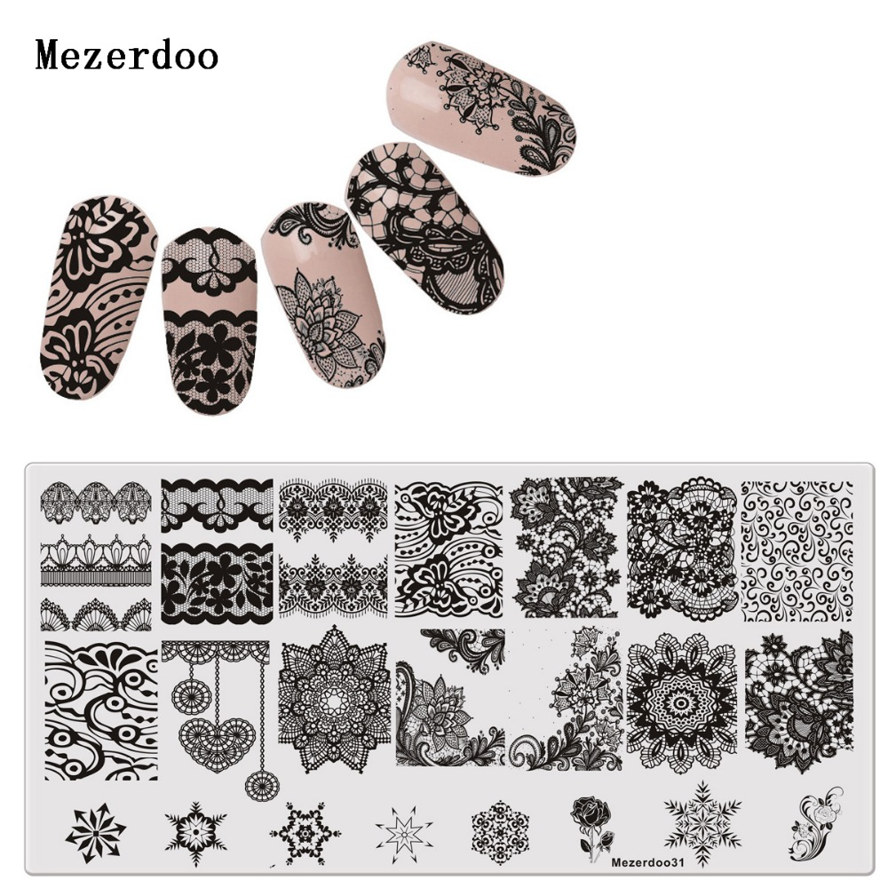 Vintage Templates Lace Flower Pattern Stamping Nail Art Image Plate ...