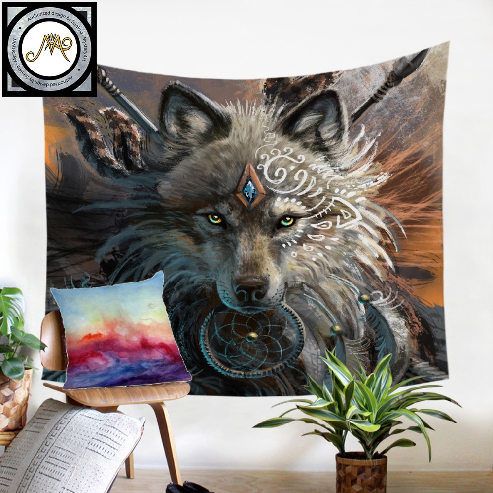 Wolf Krieger durch SunimaArt Tapisserie Native American Wand Hängen Tier Blätter Indische Wolf Tapisserie Wohnkultur Strand Matte Bettwäsche