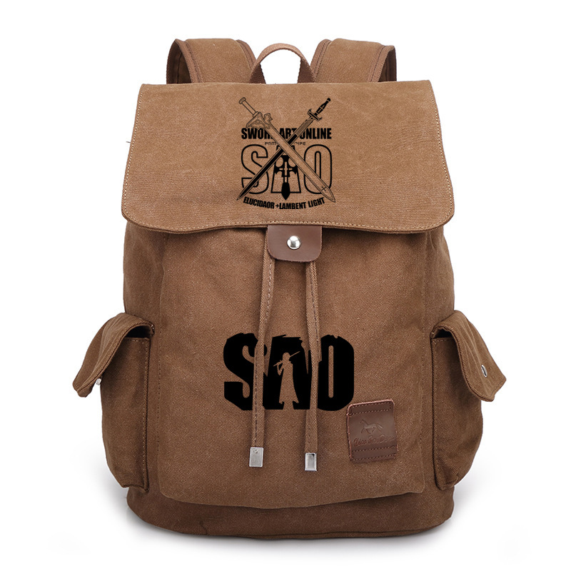 Anime men women backpack Anime Sword Art Online SAO Canvas Backpack Cosplay Rucksack School Bag students bag new fashion sword art online cosplay bag sao kirigaya kazuto anime shoulder bag pu waterproof travel messenger bags