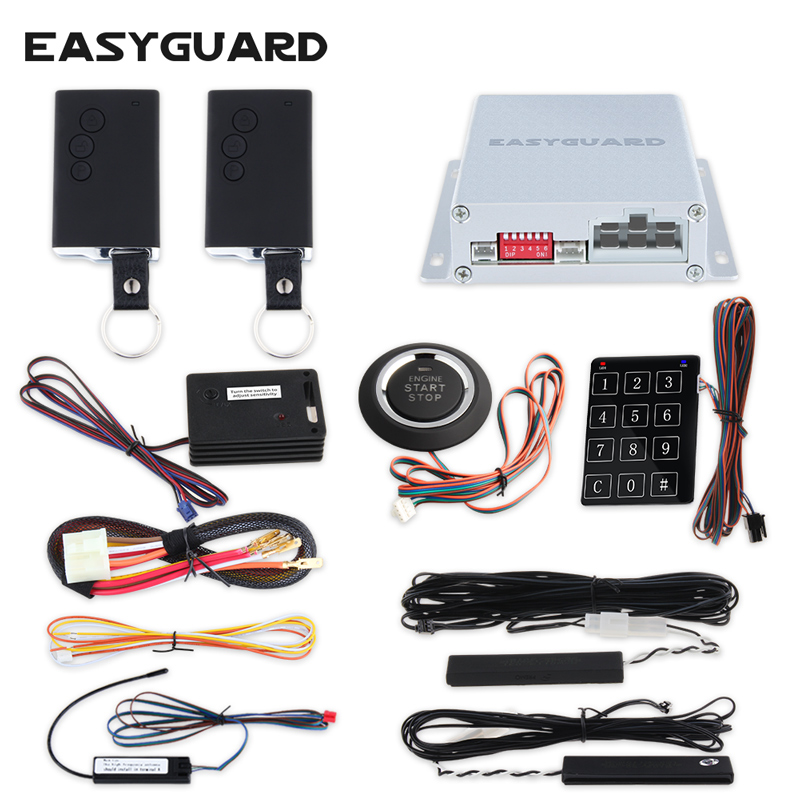Quality EASYGUARD universal PKE car alarm system passive keyless entry shock sensor push button start touch password entry dc12v easyguard push button start pke car alarm system remote engine start stop touch password entry window close output keyless go