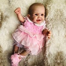 55 Super-simulated Full Silicone Reborn Girl Baby Doll Toy Masterpiec Vinyl Newborn Babies Amazing Painting Bebe Doll Brinquedo