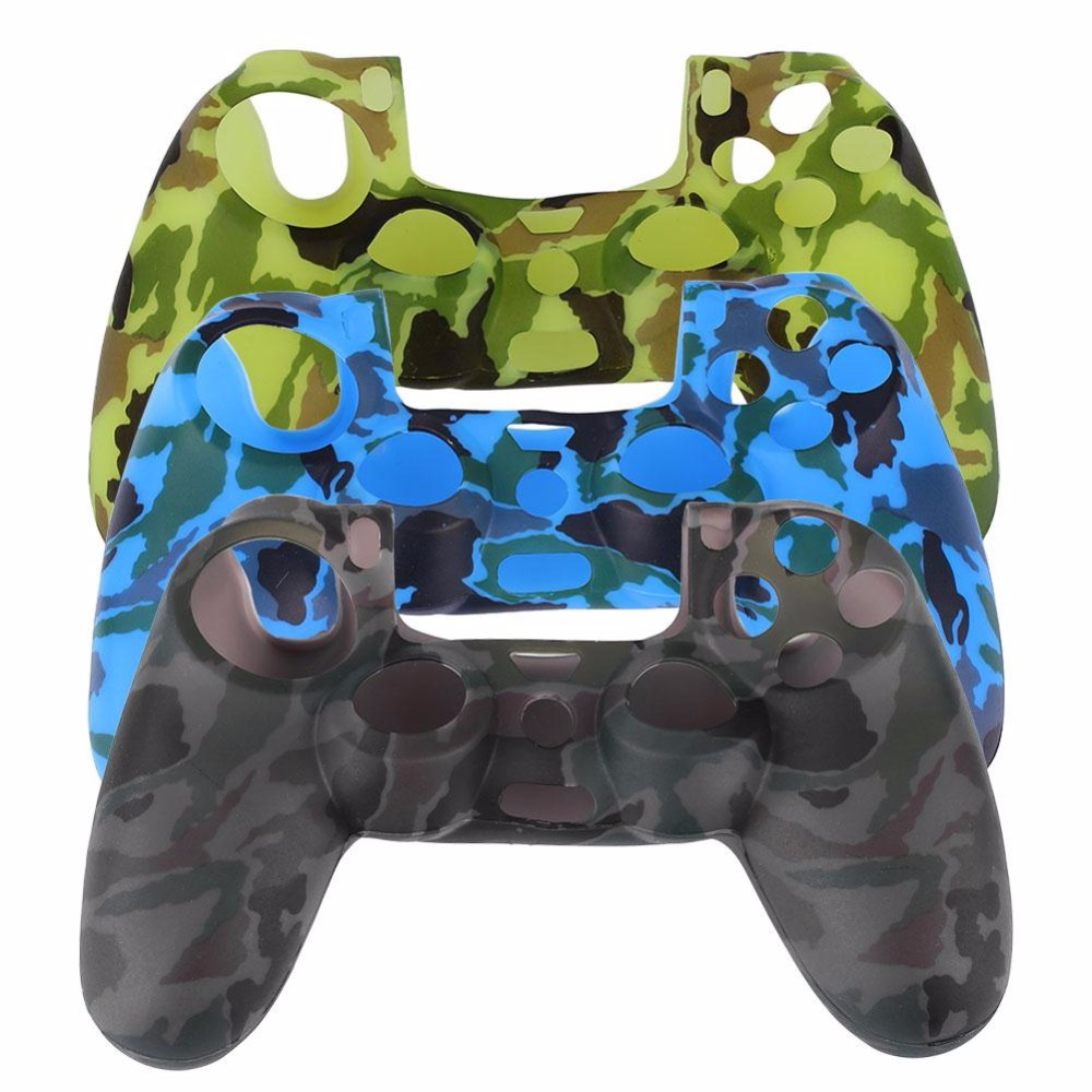 Cewaal Durable Decal Camouflage Silicone Rubber Soft sleeve Skin Grip Cover Case Protector For PS4 Game Console Gamepad Cases