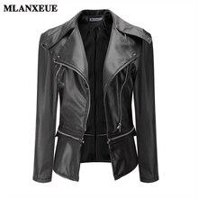 Новинка 2017 года Демисезонный кожаная куртка Для женщин модная одежда с длинными рукавами молния коричневый Куртки из кожзама женские мотоциклетные байкерская куртка