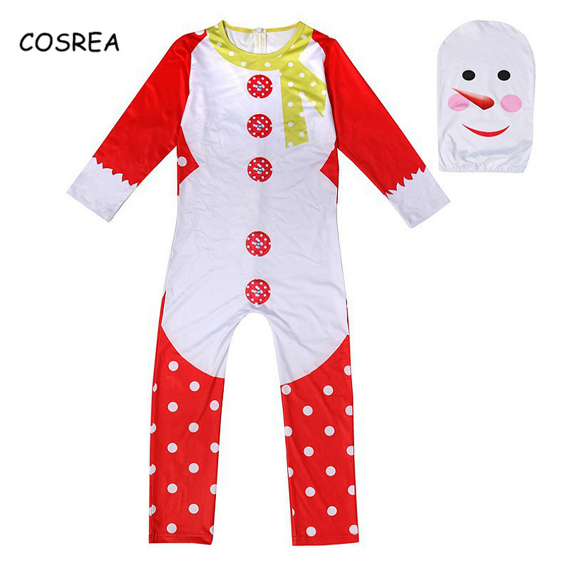Christmas Cosplay Costume Snowmen Xmas Elf Party Zentai Bodysuit Suit Jumpsuits with Mask Party Wear Kids Children Boys Girls