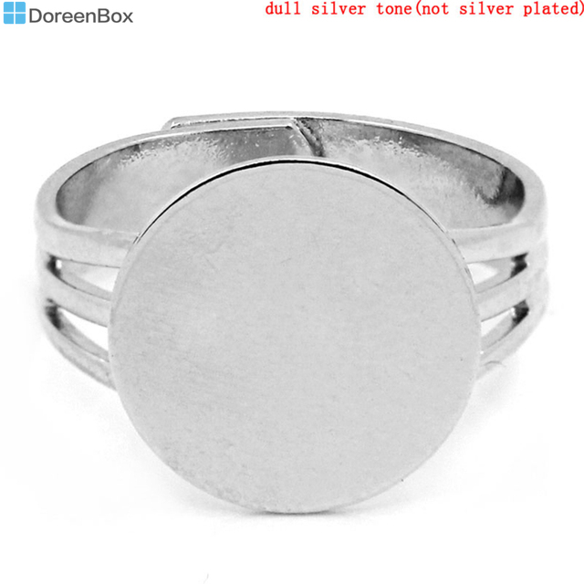 Doreen Box hot- Rings Adjustable Round Disk Silver Tone 18mm(US 7.5),10PCs (B233