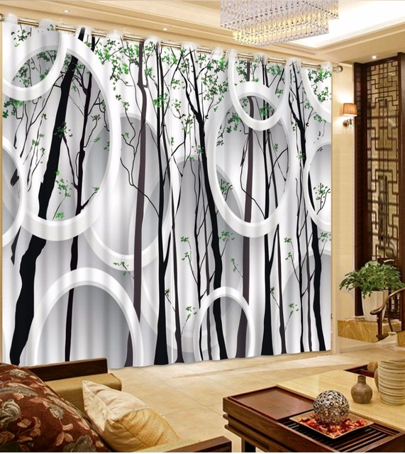 Black And White Relief 3D Blackout Sheer Curtains Circle Tree Branches Printing Living Room Kitchen