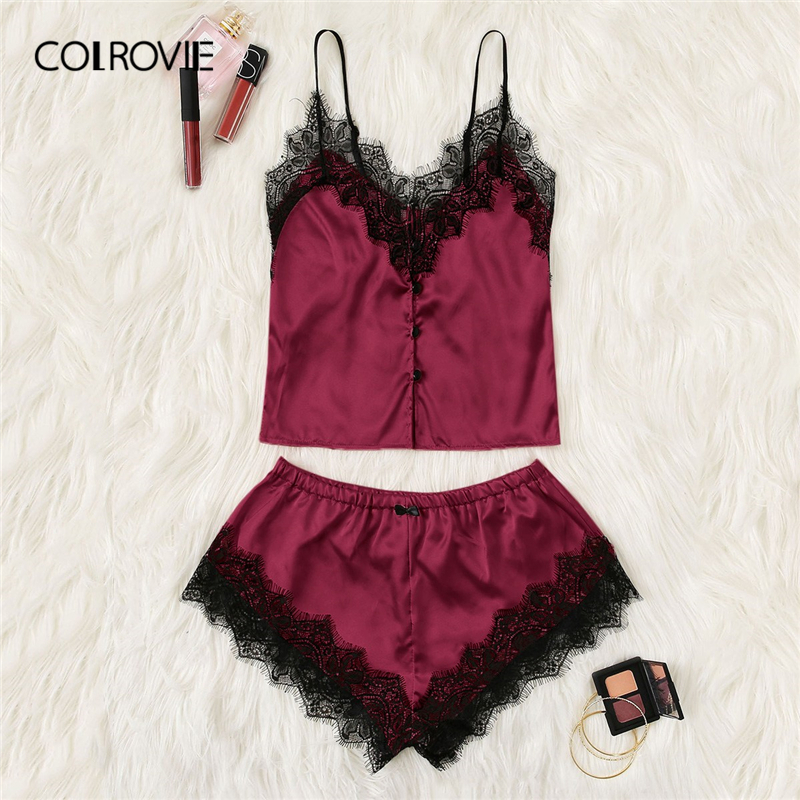 COLROVIE Burgundy Button Front Contrast Lace Satin Cami PJ   Set   2019 Summer Sexy   Pajamas   For Women Sleeveless Ladies   Pajama     Set