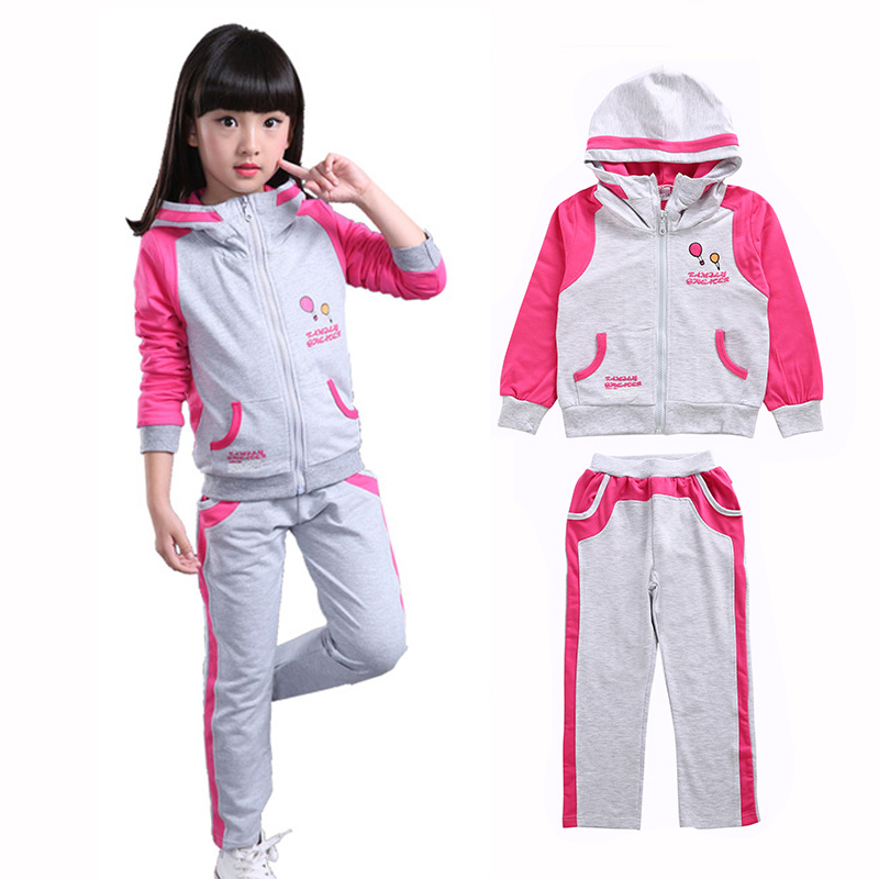 2018 Girls Sports Suit Children Autumn Clothing Sets Kids zipper Hoodies+Pants 2Pcs For 4 6 8 10 12 14 Years Girls Sportswear 2018 new long sleeve bow little girls clothing sets 4 5 6 8 10 years skirt pants hoodies 2 pieces kids suits autumn girls outfit