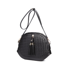 Stylish Fringes Women Shoulder Bag Classic Knitting Fashion Small Circular Bag Ladies Vintage Designer PU Leather Crossbody Bag