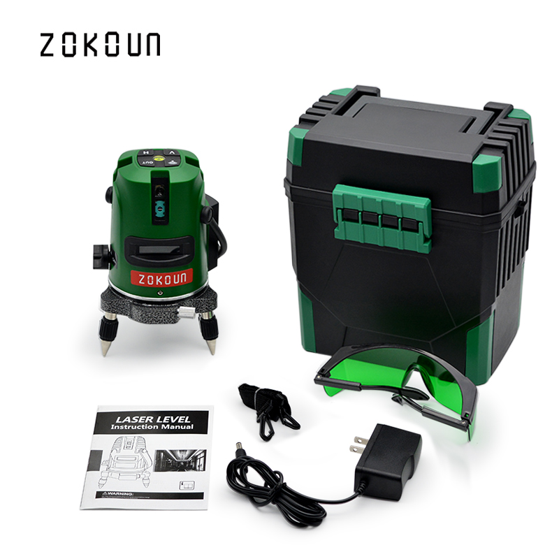 US plug ZOKOUn 5 lines 6 pionts LD laser module self-leveling 360 rotary laser could work with laser receiver