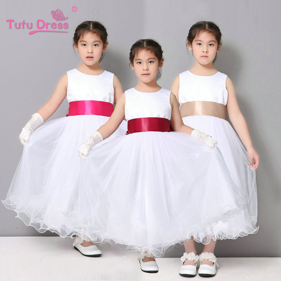 568d6010af74d Fête d anniversaire Filles Robe Blanc Couleur Fleur Fille Robe Pageant Tutu  Robes