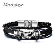 Genuine PU Vintage Leather Bracelet Wristband Jewelry Bijouterie Unisex Girls Woman