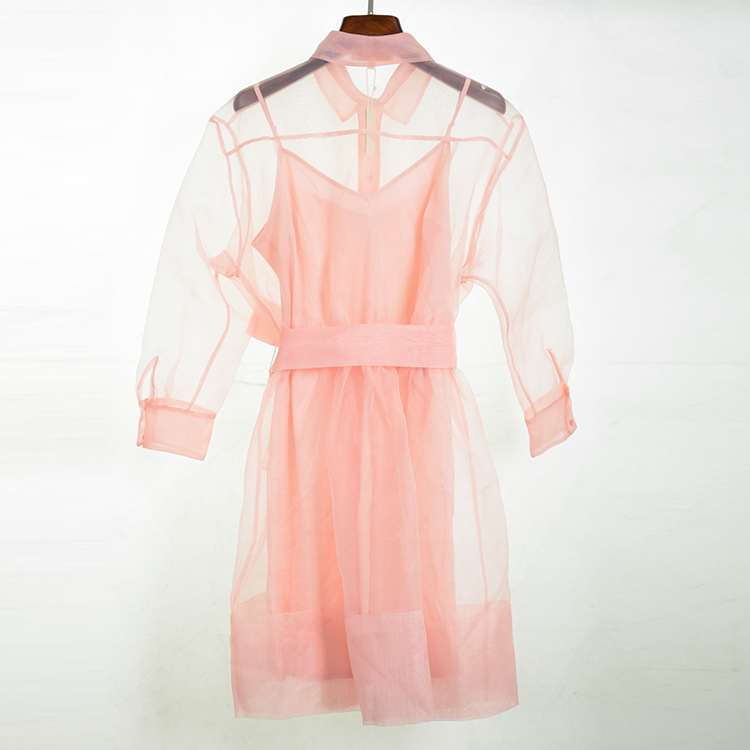 Voir À Bas Deux Arc Ensemble Rose Femmes Chemise Automne Chic Tournent Doux Vers Le Travers Haute Pièces Robe Cravate Longues F018 Qualité Manches qUzMpGSV