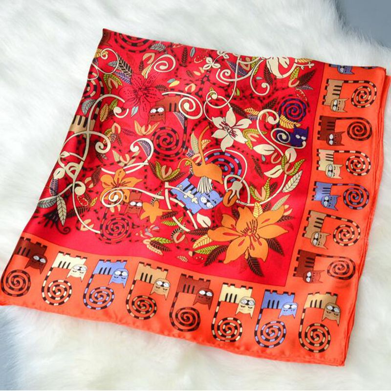 Floral & Cats Printed 100% Satin Silk   Scarf   Women Large Square Silk   Scarf     Wraps   Shawl Hijab Foulard Hand Rolled 88x88cm