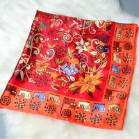 Floral & Cats Printed 100% Satin Silk Scarf Women Large Square Silk Scarf Wraps Shawl Hijab Foulard Hand Rolled 88x88cm