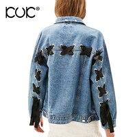 Kuk Jeans Jacket Women Oversized Denim Jacket Pocket Lace Up Ladies Outerwear Basic Coats Autumn Winter