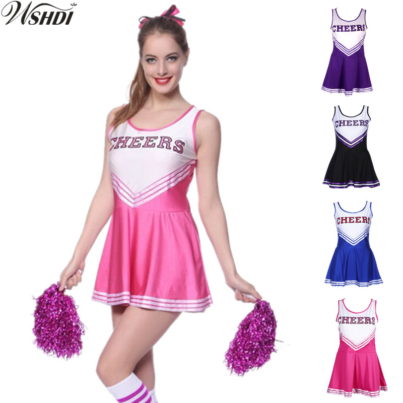 Female Sexy High School Cheerleader Costume Girl sportswear Cheer Fancy Dress