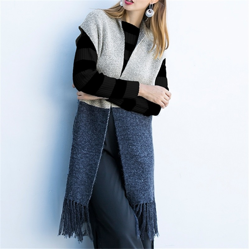 Women Fashion Coat Elegant Sleeveless Outwear Casual Tassel 2018 New Autumn Long Jacket Elastic Waitscoat Colete Cardigans