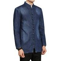 Men Fashion Casual Chinese Kongfu Long Denim Coat Spring Autumn Male Slim Fit Stand Collar Jacket