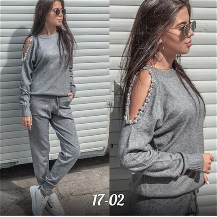 2018 Sale Blends Full Beading O-neck Drawstring Womens Clothing Women Two Piece Outfits Tracksuit Set Top And Pants