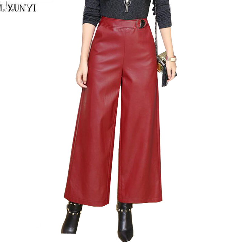 LXUNYI New Arrival 2019 Autumn Leather   Pants   Winter PU High Waist   Wide     leg     Pants   Women Loose Women's Trousers Black Wine Red